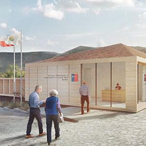 Edificio oficina provincial y campamento vialidad MOP, Putre